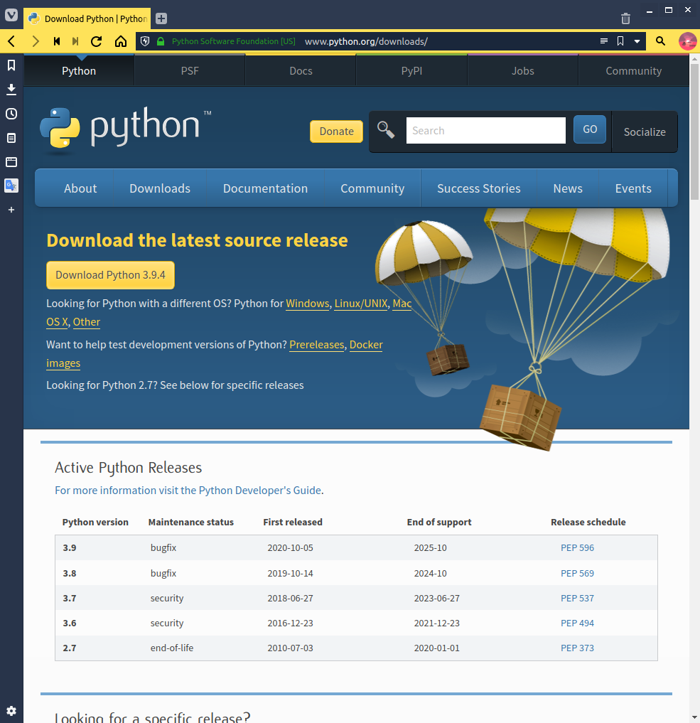 Python downloads website